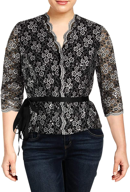 Alex Evenings Womens Petites Lace Overlay ThreeQuarter Sleeves Blouse