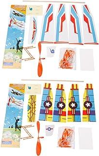 Kofun Diyラバーバンドパワードグライダー, ミニ泡ハンドメイド飛行飛行機のグライダーDiyアセンブリモデルキッド玩具 理想的なクリスマスの誕生日 子供のためのモデル 子供のためのギフト