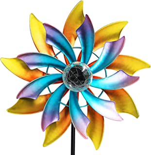 Best MAGGIFT 57 Inch Solar Wind Spinner with Metal Garden Stake, Multi Color Changing LED Solar Powered Glass Ball, Outdoor Wind Catcher Yard Patio Christmas Holiday Decoration Review