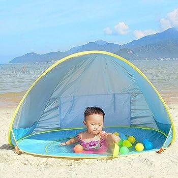 Ray-Velocity Tenda Spiaggia Bambini Pop-up Riparo del Sole con Piscina Staccabile Protezione UV 50+ Portatile per la Famiglia Campeggio Giardino Picnic Esterno