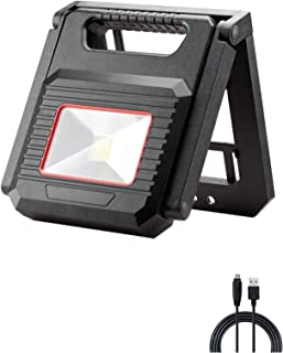 GS Tools Emergency Rechargeable LED Work Light, Folding 5w COB Floodlight with Magnetic and Collapsible Base, 350 Lumens Spotlight with Powerbank to Charge Mobile Phone for Blackout, Workshop and SOS