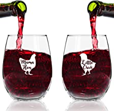 Mama Hen Little Chick Wine Glasses (Set of 2) | Cute Wine Glasses Set for Mother Daughter Matching Gifts Idea | Great for Birthday, Mother's Day Gift for Mom From Daughter