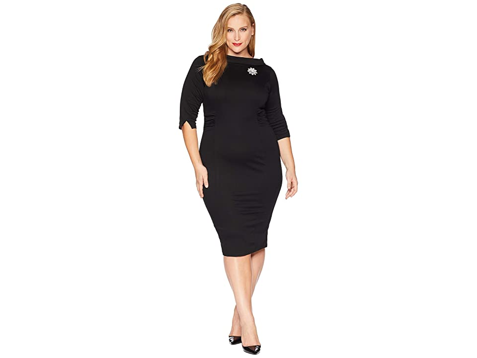 Unique Vintage Plus Size 1960s Stretch Sleeved Lucinda Wiggle Dress (Black) Women
