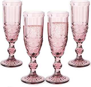 Champagne Glasses set of 4 Cheers Champagne Flutes 5 oz for Wedding Party Anniversary Christmas Vintage Pattern Embossed P...