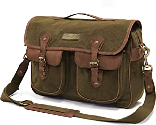 DRAKENSBERG Safari Messenger - Umhängetasche und 15 Laptoptasche für Herren im Retro-Vintage-Design, handgemacht in Premium-Qualität, 15L, Canvas und Leder, Olivgrün, DR00100