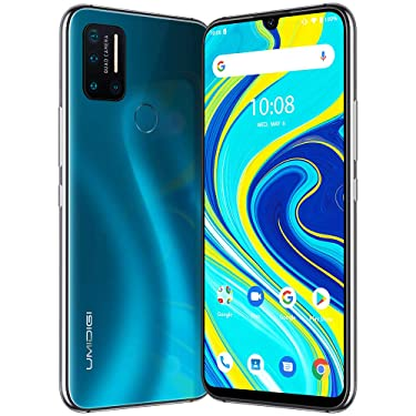 """UMIDIGI A7 Pro Unlocked Cell Phones(4GB+128GB) 6.3"""" FHD+ Full Screen, 4150mAh High Capacity Battery Smartphone with 16MP AI Quad Camera, Android 10 and Dual 4G Volte(Ocean Blue)."""