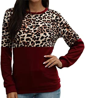 Miracle Womens Shirt Leopard Print Patchwork Stitching Top Blouse Fashion Long Sleeve Casual Loose T Shirts