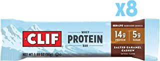 CLIF Whey Protein Snack Bars, Salted Caramel Cashew Flavor, 1.98 Ounce, Pack of 8