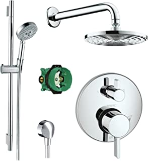 Hansgrohe Chrome Raindance Shower Set w/Handshower Wallbar, Pressure Balance Valve Trim w/Diverter, Rough with Glory Glaze Cleaner and Polish, Chrome
