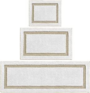 mDesign Soft Microfiber Polyester Spa Rugs for Bathroom Vanity, Tub/Shower - Water Absorbent, Machine Washable - Includes Plush Non-Slip Rectangular Accent Rug Mats in 3 Sizes - Set of 3 - White/Linen