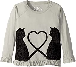 Soft Vintage Jersey Velvet Cats Peplum Tee (Little Kids/Big Kids)