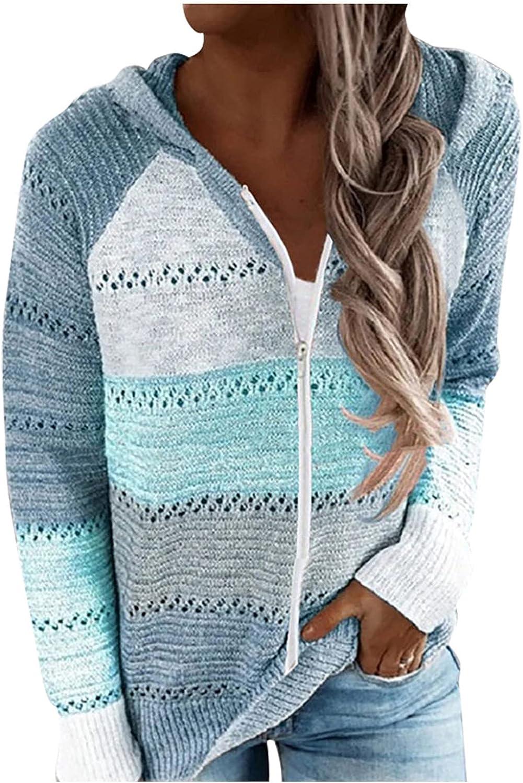 VonVonCo Cardigan Sweaters for Women Zip Up Color Block Hat Hollow Blouses Long Sleeve Cardigan Sweatshirts