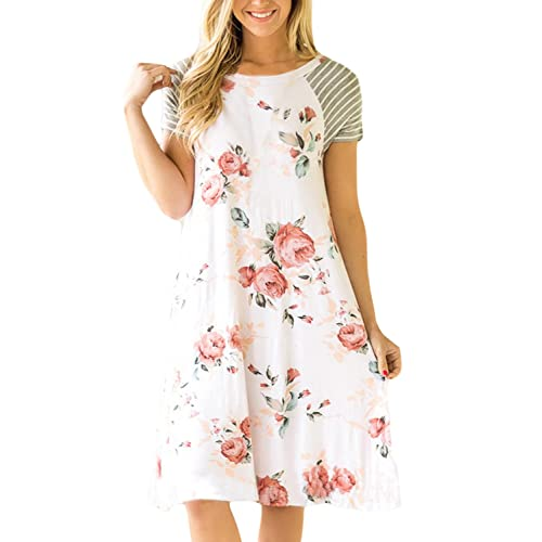 ebf8ed63aa HOTAPEI Women s Floral Print Casual Short Sleeve A-line Loose T-Shirt  Dresses Knee