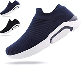 JABASIC Mens Ultra-Sock Knit Running Sneaker Breathable Slip on Walking Shoes