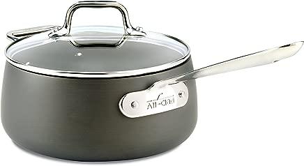 All-Clad E7852464 HA1 Hard Anodized Nonstick Dishwasher Safe PFOA Free Sauce Pan Cookware, 3.5-Quart, Black