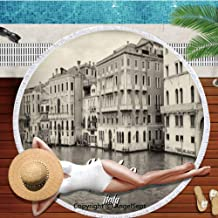 Thick Round Beach Towel Blanket - Hawaii Hawaiian Tropical Large Microfiber Terry Beach Roundie Palm Circle Picnic Carpet,Venice,Old Photo of Venice Italian City Vintage Filter Effect and Lettering Hi