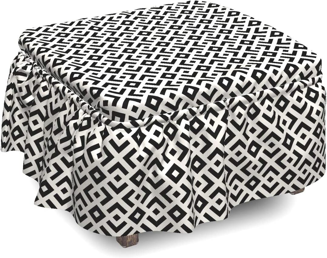 Lunarable Ivory and Black Ottoman Pattern 2 OFFicial store Angled All items free shipping Cover Line
