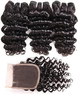 Brazilian Deep Wave Bundles with Closure (8 8 8+8) 100% Unprocessed Grade 10A Virgin Brazilian Deep Curly Weave Human Hair 3 Bundles with Lace Closure 4x4 Free Part Natural Black 50g/pc