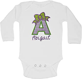 Baby Girl Embroidered Initial Onesie Bodysuit - Your Custom Name