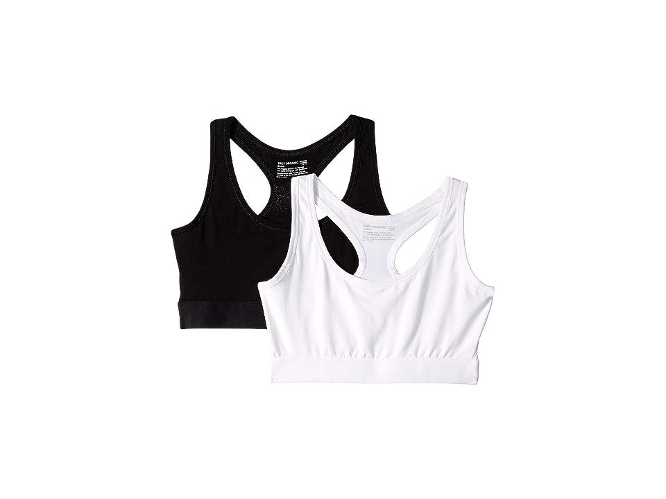 PACT 2-Pack Organic Cotton Racerback Bras (Black/White) Women