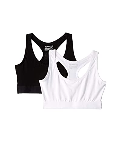 PACT 2-Pack Organic Cotton Racerback Bras (Black/White) Women