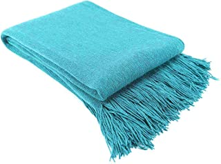 LAGHCAT Solid Blanket Cross Woven Couch Throw Christmas Knitted Blankets with Decorative Fringe Lightweight for Bed or Sofa Decorative, 51 x 67 Inch, Peacock Blue