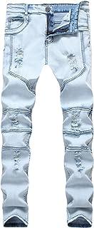Comfortabele jeans met rechte pasvorm voor heren en klassieke jeans met normale pasvorm. Herfstmode gescheurde stijlvolle ...