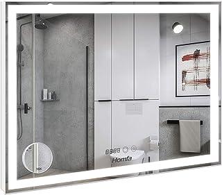 Homfa 80x60cm Espejo Baño Antivaho Espejo de Pared Espejo Colgante Salón con Luz LED Interruptor Táctil 3 Temperatura de C...