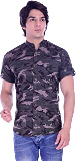BASE 41 Men's Cotton Camouflage Army Print Half Sleeves Chinese Collar Shirt
