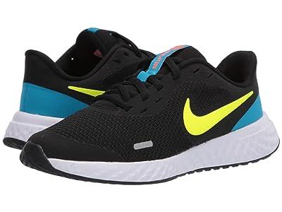 Nike Kids Revolution 5 (Big Kid) (Black/Lemon Venom/Laser Blue) Boys Shoes