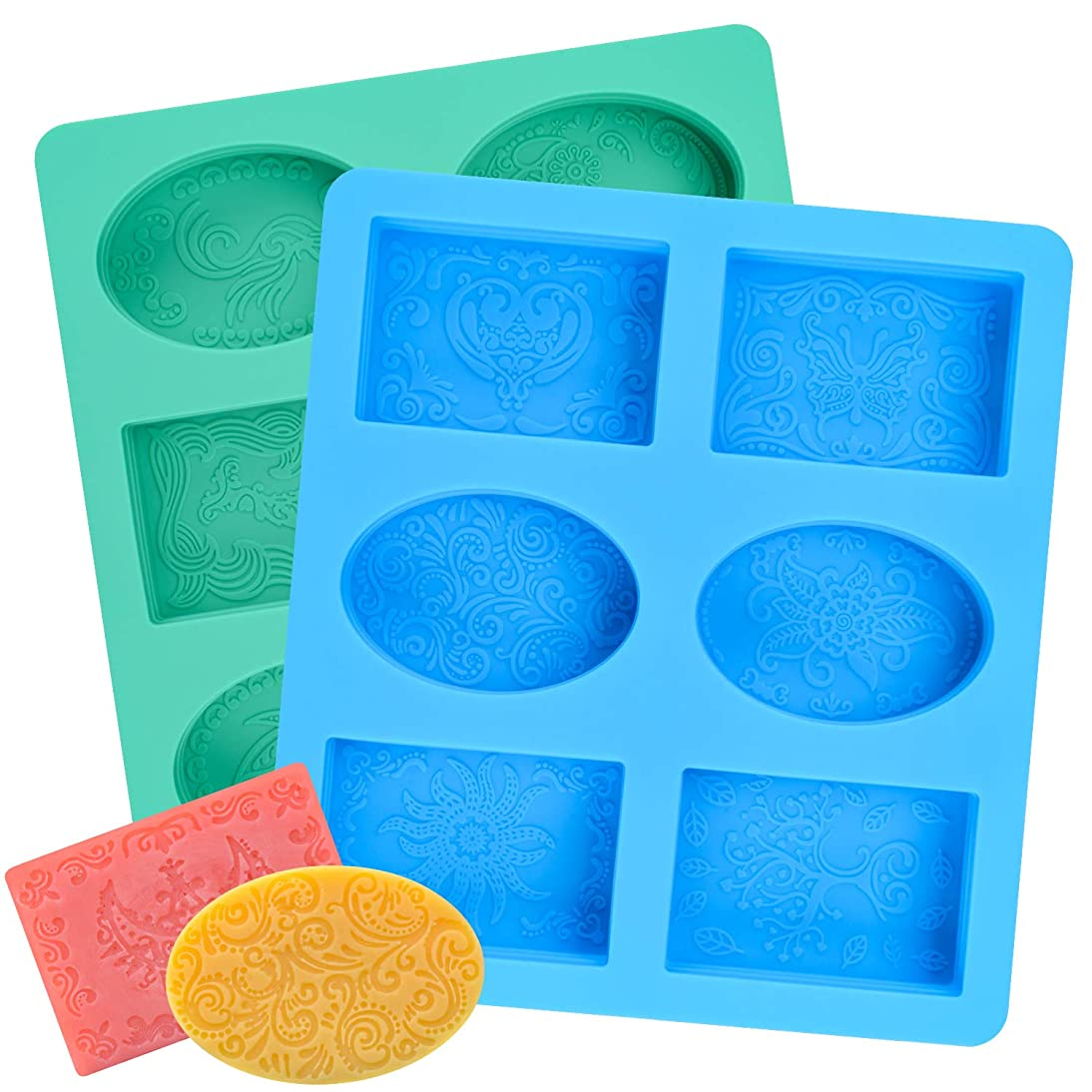 2 Pcs SJ Silicone Soap Molds, 12-Pattern, Rectangle & Oval, Hand Soap Silicone Molds for Kids, Non-Stick & BPA Free (Blue & Mint Green)
