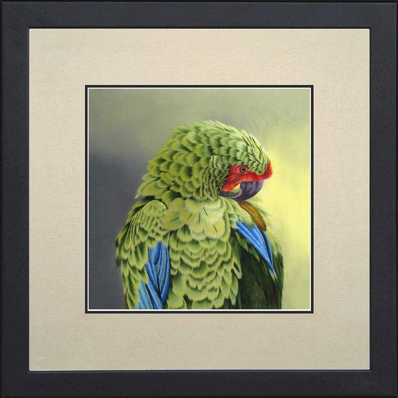 Silk Cheap bargain Art 100% Handmade Emboridery Parrot Framed Painting Store Green O