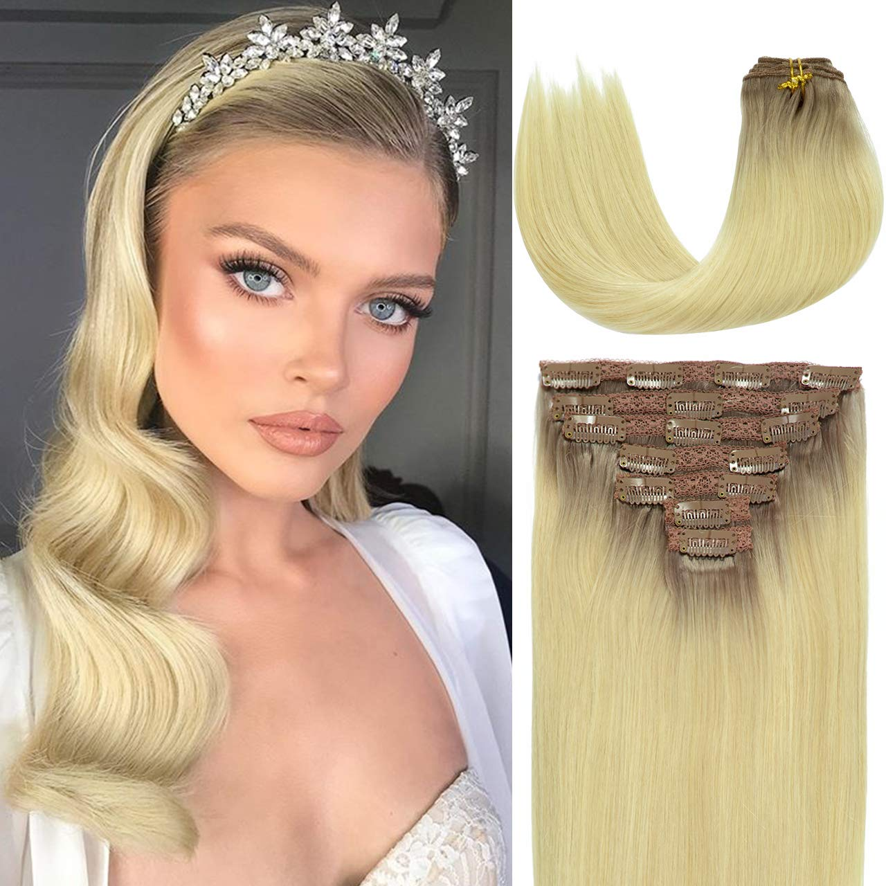 Attention brand Lacer Human Hair Clip In Extensions National products Color R#20 Plati 60 Balayage