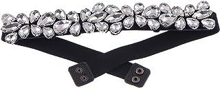 Anna-Kaci Women's Crystal Petal Cluster Stretch Elastic Cinch Waist Belt
