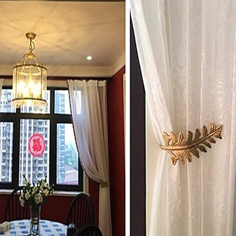 U-Shape European Style Curtain Hook,Curtain Tiebacks Metal Bronze Living Room For Bedroom Large Vintage Leaf Design Curtain Holdbacks