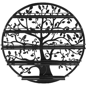 Tree Silhouette Black Round Metal Wall Mounted 5 Tier Salon Nail Polish Rack Holder/Wall Art Display