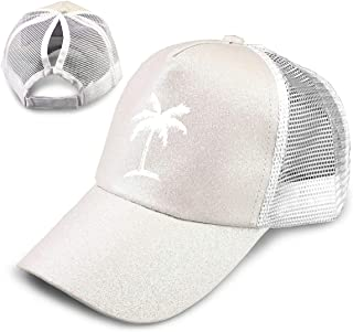 LaoJi Hawaiian Palm Tree Ponytail Baseball Cap High Bun Ponycap Adjustable Mesh Trucker Hats