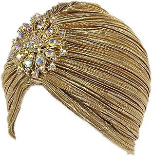 MoreChioce Turban Femme Mode,Musulman Bonnet Strass Cheveux Bandeau Chimio Chapeau Casquette Hat