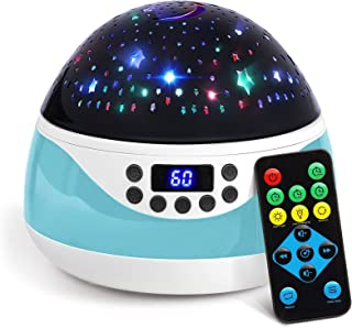 AnanBros Remote Baby Night Light with Timer Music, Star Night Light Projector for Kids, Rotating Kids Night Lights for Bedroom 9 Color Options, Projection Lamp for Baby Cyan