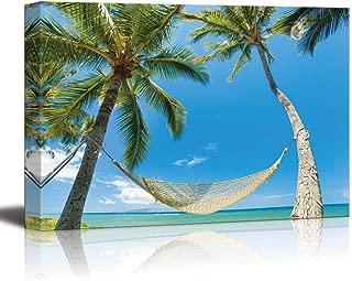 Canvas Prints Wall Art - Tropical Palm Trees and Hammock Near The Sea - 24