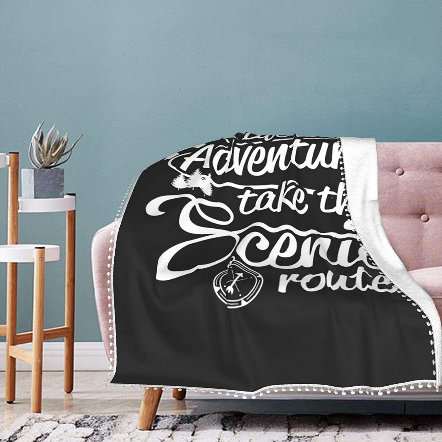 Life's an 2021 Limited Special Price new Adventure Pompom Fringe Air Conditioning Blanket Blank