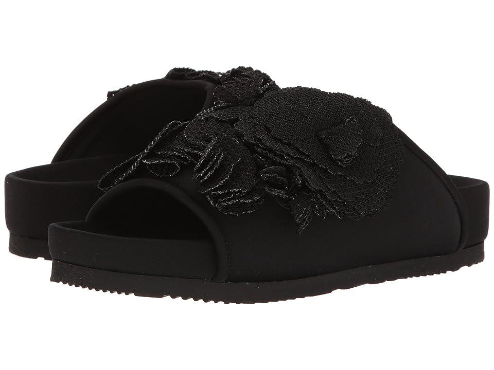 Suecomma Bonnie Flower Detailed Flat Sandal (Black) Women