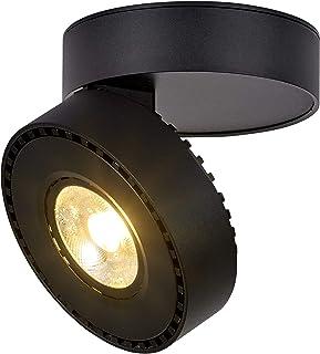 Dr.lazy 12W LED Focos para el techo,Focos de pared, Lámpara de techo, Focos de pared, Lámpara de salón, Luz de techo led, Plafón con Focos, IP20, 10X10x6CM (Negro-3000K)