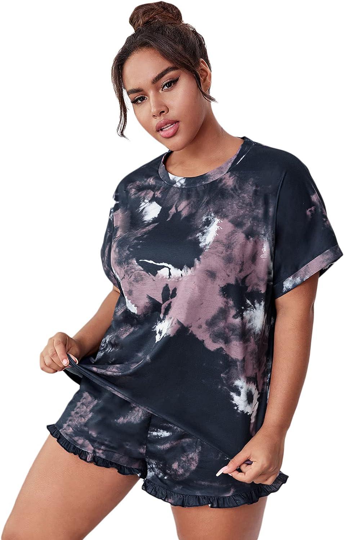 MakeMeChic Women Plus Size 2 Piece Pajamas Sets Tie Dye Short Sleeve Top and Shorts Loungewear Sleepwear