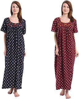 Shararat Women's Cotton Nighty | Nightdress Night Gown for Women - Print May Vary