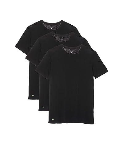 Lacoste Essentials 3-Pack Classic Fit Crew Neck Tee (Black) Men