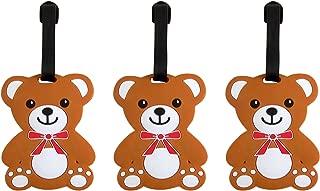Teddy Bear Stuffed Animal Suitcase Luggage Tag, 3 1/2 Inch, Set of 3