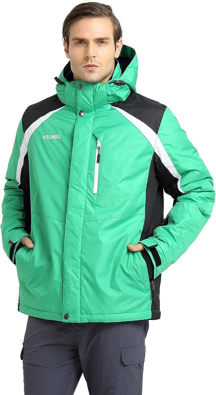 Krumba Mens Hooded Ski Jacket Sportswear Outdoor Waterproof Windproof Jacket