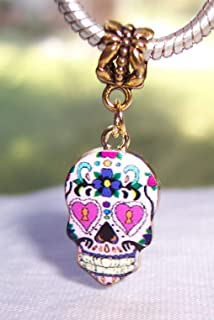 Zevak Jewelry Making Charms Day of The Dead Sugar Skull Mexico Pink Gold Dangle Charm for European Bracelet