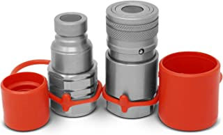 """Skid Steer Flat Face Hydraulic Quick Connect Couplers/Couplings Set w/Dust Caps, 1/2"""" Body x 3/8"""" NPT Thread"""